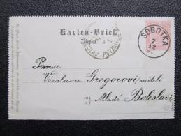 GANZSACHE Kartenbrief Sobotka - Mlada Boleslav 1892   /// D*19793 - 1850-1918 Imperium