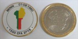Benin 1500 CFA 2015 Bimetal Couleurs Drapeau - Benin