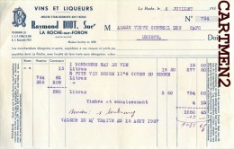 LA ROCHE-SUR-FORON RAYMOND DIOT VINS ET LIQUEURS MEGEVE FACTURE ALCOOL 1937 - France