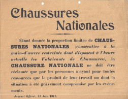 CHAUSSURES NATIONALES -JOURNAL OFFICIEL 13 JUIN 1917 - Decretos & Leyes