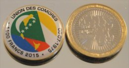 Comores 1100 Francs 2015 Bimetal Couleurs Drapeau - Comores