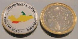 République Du Congo 1500 CFA 2015 Bimetal Couleurs Drapeau - Congo (Republic 1960)
