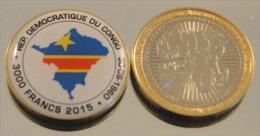 Congo RDC 3000 Francs 2015 Bimetal Couleurs Drapeau - Congo (Democratic Republic 1964-70)