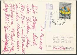 SPE63--- POSTAL HISTORY ,  BOLIVIA--- SALZBURG,  AUSTRIA, - Sport Invernali