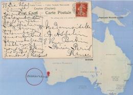 CPA COLOMBO CEYLAN, SEMEUSE FREMANTLE ESTERN AUSTRALIA, AUSTRALIE. RARE ! - Poste Maritime