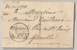 37 VOREPPE  Isère Sur LAC. 1840. - Marcophilie (Lettres)