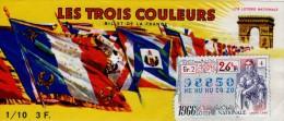 Billet De Loterie Nationale, Les Trois Couleurs, 1966,  (timbre 1966, 26ème Tranche) - Billets De Loterie