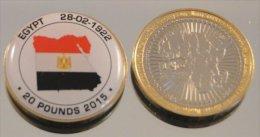 Egypte 20 Pounds 2015 Bimetal Couleurs Drapeau - Egypte