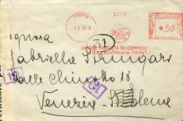 6550 Italia, Red Meter Freistempel 1942 Trento  Unione Fascista Commercianti Provincia Trento, Circuled And Censured - Affrancature Meccaniche Rosse (EMA)