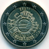 Estonia 2 Euro 2012 10 Years Of Euro Banknotes And Coins UNC Bimetall Coin From Roll - Estonia