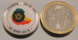 Ethiopie 60 Birr 2015 Bimetal Couleurs Drapeau - Ethiopie