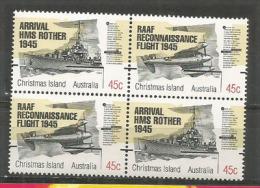 Arrivée De La Frégate Britannique HMS ROTHER En 1945 à  Lîle Christmas. Un Bloc De 4 Timbres Neufs ** - Christmas Island