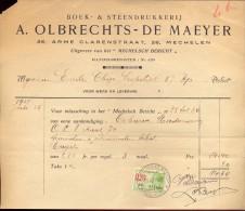 Factuur Facture - Boek & Steendrukkerij Olbrechts - De Maeyer - Mechelen 1931 - Imprimerie & Papeterie