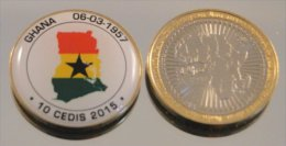 Ghana 10 Cedis 2015 Bimetal Couleurs Drapeau - Ghana