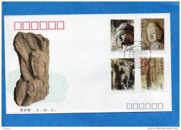 MARCOPHILIE-CHINE-enveloppe Illustrée FDC -4 Stamps N°3180-83 -longmen Grottoes-1993 - 1949 - ... République Populaire