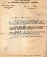 VP3602 -Tabac - Lettres Du Laboratoire De Recherches Scientifiques Coloniales & Mr SCHLOESING à PARIS - Documents
