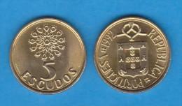 PORTUGAL  5  ESCUDOS 1.992  Niquel-Latón  KM#632   SC-/UNC-   T-DL-11.714 - Portogallo