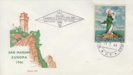 Enveloppe  FDC  1er  Jour   SAN  MARINO   EUROPA    1966 - Europa-CEPT
