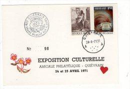 05082-LE-BELGIQUE-EXPOSITION CULTURELLE -AMICALE PHILATELIQUEQUIEVRAIN-24 Et 25 AVRIL 1971 - Quiévrain