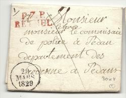 Ardennes - Rethel Pour Le Commissaire De Police De Sedan. 1829 - 1801-1848: Precursors XIX