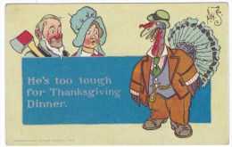 Denslow Artist Signed Thanksgiving Greeting, Tough Looking Turkey, Man With Axe, C1900s/10s Vintage Postcard - Thanksgiving