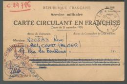 Carte Circulant En Franchise Du 19.06.1952 Notification Du Commandant De Corps Militaire, Nomination Au Grade Adjudant - Documents