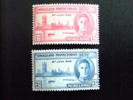 SOMALILAND 1946 VICTORY Yvert Nº 100 /01 ** MNH - SG Nº 117 /18 **MNH - Somaliland (Protectorat ...-1959)