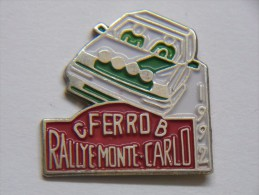 RARE - Pin´s - Automobile - RALLYE MONTE-CARLO - Equipe FERRO Claude Et Bernard Sur RENAULT 5 GT Turbo - 1992 - Rallye