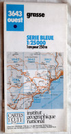 Carte IGN 3643 Ouest GRASSE Série Bleue 1:25000 1987 - Topographical Maps