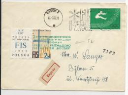 POLOGNE - 1962 - FIS (SKI) - ENVELOPPE EXPRES De RADOM Avec MECA + VIGNETTE