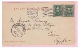 USA -- CARTE POSTALE A DESTINATION DE L'EGYPTE -- 1905 -- - Poststempel