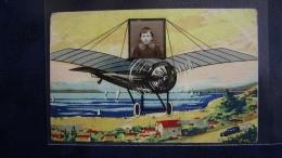PORTRAIT FERROTYPE: Enfant Sur Un Avion Monoplan Survolant Lac Ou Bord De Mer. - Portraits