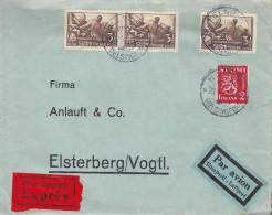 Finlande - Lettre Exprès De 1939 ° - Oblitération Helsinki - Expédié Vers L'Allemagne - Cachet De Elsterberg - Finnland