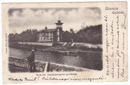 #5558 Hungary, Gyor, Postcard Mailed 1901: Riverside, Pavillion Of Rowers - Hongrie