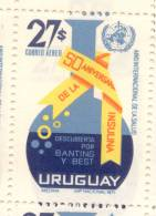 50 AÑIVERSARIO DE LA INSULINA DESCUBIERTA POR BANTING Y BEST URUGUAY 1972 MNH TBE INSULINE DIABETIS DIABETES DIABETICO