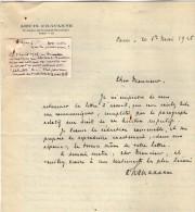 VP3605 -Tabac - Lettre De Mr Louis  CHAVANNE  à PARIS  Pour  Mr SCHLOESING - Documentos