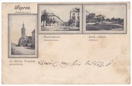 Hungary, Sopron, Oedenburg, Postcard Mailed 1899, Multiview: Erzsebet Street, Deak Park, Church - Hongrie