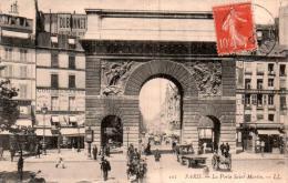 75 PARIS LA PORTE SAINT MARTIN CIRCULEE 1907 - Other Monuments
