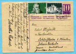 Antwort-Postkarte Von Kilchberg Nach Schleissheim 1948 - Ganzsachen