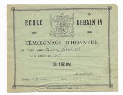 TEMOIGNAGE  D´honneur 1932 TROYES ECOLE URBAIN 4 - Diplômes & Bulletins Scolaires