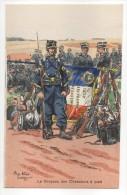 Le Drapeau Des Chasseurs à Pied - Belle Carte Aux Coloris Illustrée Par Pierre Albert LEROUX - Neuve - Uniformes