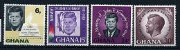 SGhana ** N° 225 à 228 - 2e Ann. De La Mort De J.F. Kennedy - Ghana (1957-...)