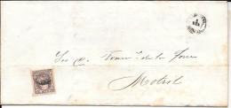España. Carta Circulada Desde Cartagena A Motrll Con Sello De 2 Milçesimas - 1868-70 Gobierno Provisional