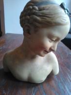 Buste Van Lieflijk Jong Meisje, Art Nouveau?,jugendstil?, Jaren 1900, ( Plaaster) Nr 65 - Sculptures