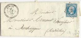 ARDECHE - 1858 - LETTRE De BURZET + T22 + PC 566 Pour ANTRAYGUES - Marcophilie (Lettres)