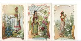 Image Chromo TURQUIE JASMIN RUSSIE CAMELIAS SUEDE ACONIT ( Femme Russe Suédoise Et Turque ) Costume Fleurs - Chromos