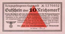Deutschland, Germany - Gutschein über 10 Reichsmark, Deutsche Wehrmacht, Ro. 521, UNC, 1939 ! - Unclassified