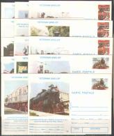 M1263 Transport Trains Locomotives Rail Roads 1995 Romania 14 PC Postcards Set ** RARE - Trains