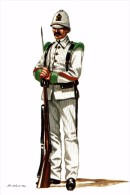 MILITAR SALAS. - CABO DE INFANTERIA DE LA MILICIA DE PUERTO RICO. ESPAÑA 1897 - Uniformes