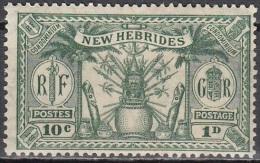 Nouvelles Hebrides 1925 Michel 78 Neuf * Cote (2005) 1.80 Euro Armoirie - Légende Anglaise